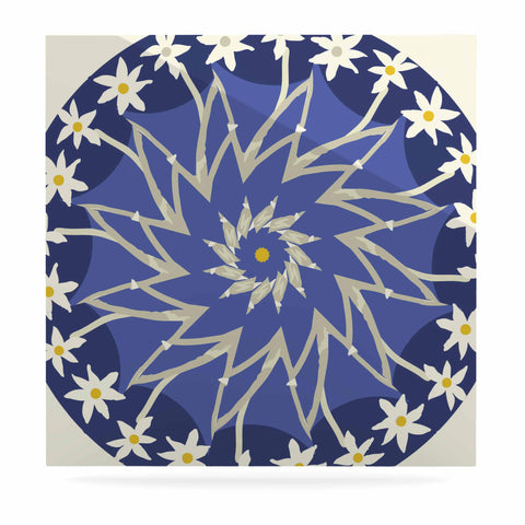 "Laura Nicholson ""Sawtooth Flower"" Blue Nature Luxe Square Panel - KESS InHouse  - 1"