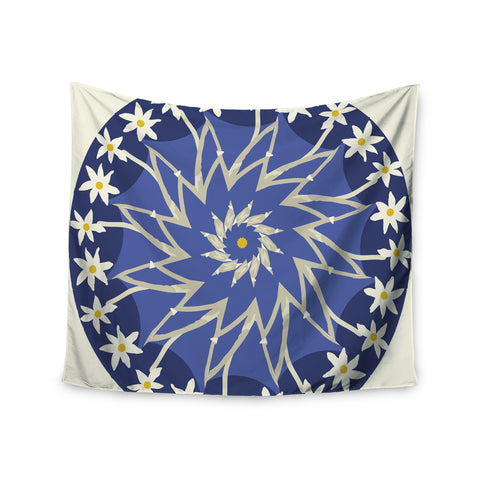 "Laura Nicholson ""Sawtooth Flower"" Blue Nature Wall Tapestry - KESS InHouse  - 1"