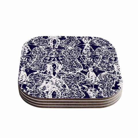 "Laura Nicholson ""Loony Lace"" Blue Illustration Coasters (Set of 4)"