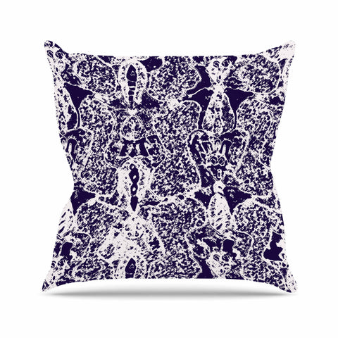 "Laura Nicholson ""Loony Lace"" Blue Illustration Outdoor Throw Pillow - KESS InHouse  - 1"