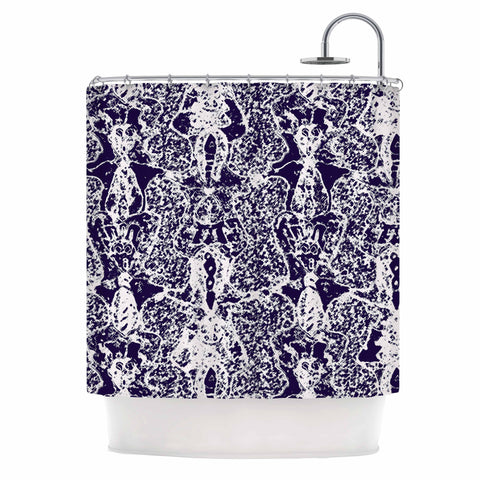 "Laura Nicholson ""Loony Lace"" Blue Illustration Shower Curtain - KESS InHouse"