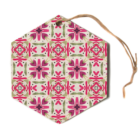 "Laura Nicholson ""Echinacea Garden"" Magenta Geometric Hexagon Holiday Ornament"