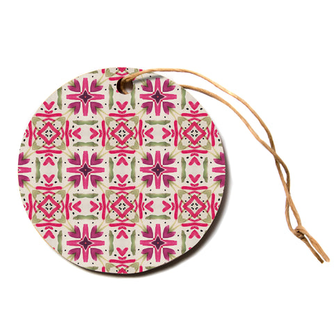 "Laura Nicholson ""Echinacea Garden"" Magenta Geometric Circle Holiday Ornament"