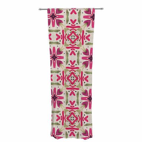"Laura Nicholson ""Echinacea Garden"" Magenta Geometric Decorative Sheer Curtain - KESS InHouse  - 1"