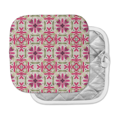 "Laura Nicholson ""Echinacea Garden"" Magenta Geometric Pot Holder"