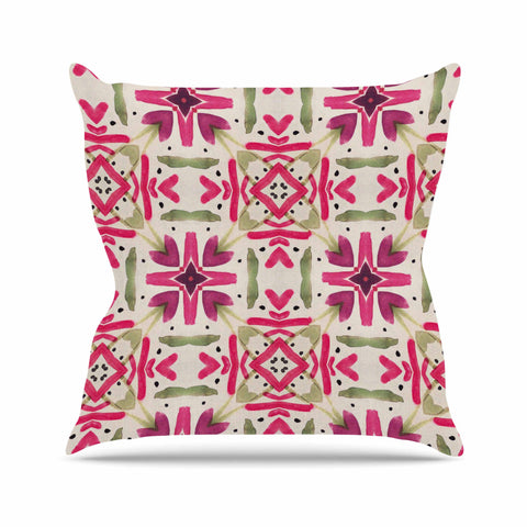 "Laura Nicholson ""Echinacea Garden"" Magenta Geometric Outdoor Throw Pillow - KESS InHouse  - 1"