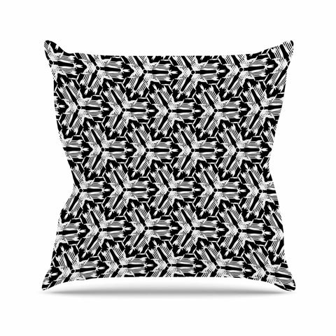 "Laura Nicholson ""Y Knot"" Black White Outdoor Throw Pillow - KESS InHouse  - 1"