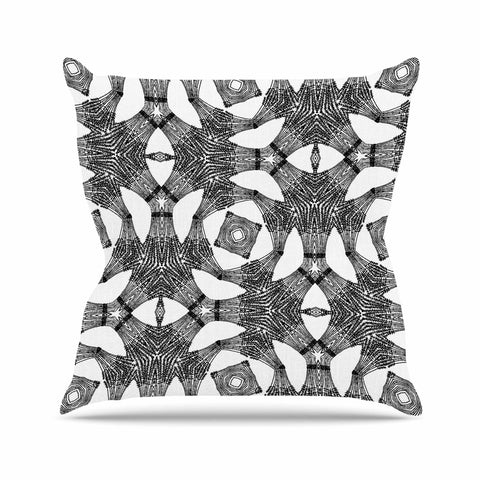 "Laura Nicholson ""Twiggy Boxes"" Black Geometric Outdoor Throw Pillow - KESS InHouse  - 1"