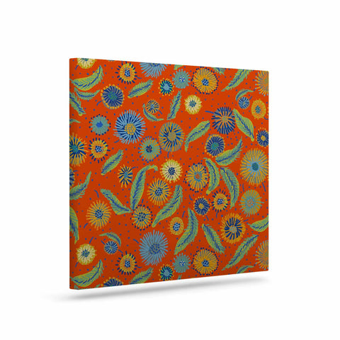"Laura Nicholson ""Asters On Scarlet"" Orange Floral Canvas Art - KESS InHouse  - 1"