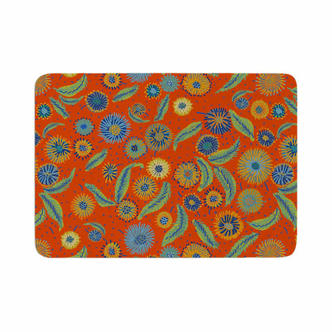 "Laura Nicholson ""Asters On Scarlet"" Orange Floral Memory Foam Bath Mat - KESS InHouse"