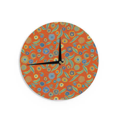 "Laura Nicholson ""Asters On Scarlet"" Orange Floral Wall Clock - KESS InHouse"