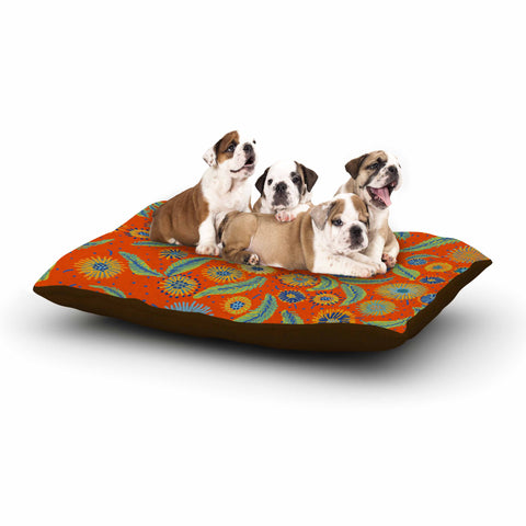 "Laura Nicholson ""Asters On Scarlet"" Orange Floral Dog Bed - KESS InHouse  - 1"