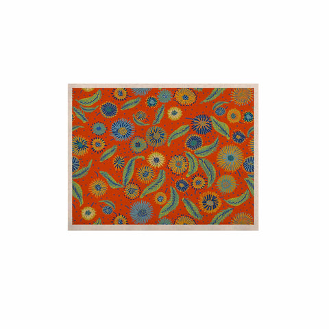 "Laura Nicholson ""Asters On Scarlet"" Orange Floral KESS Naturals Canvas (Frame not Included) - KESS InHouse  - 1"