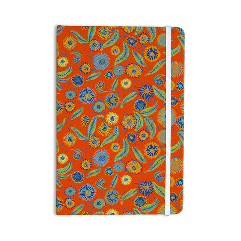 "Laura Nicholson ""Asters On Scarlet"" Orange Floral Everything Notebook - KESS InHouse  - 1"