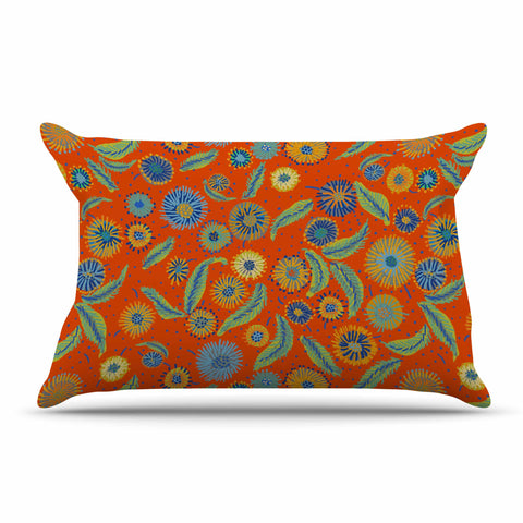 "Laura Nicholson ""Asters On Scarlet"" Orange Floral Pillow Sham - KESS InHouse  - 1"