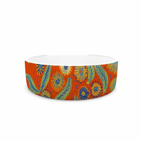 "Laura Nicholson ""Asters On Scarlet"" Orange Floral Pet Bowl - KESS InHouse"