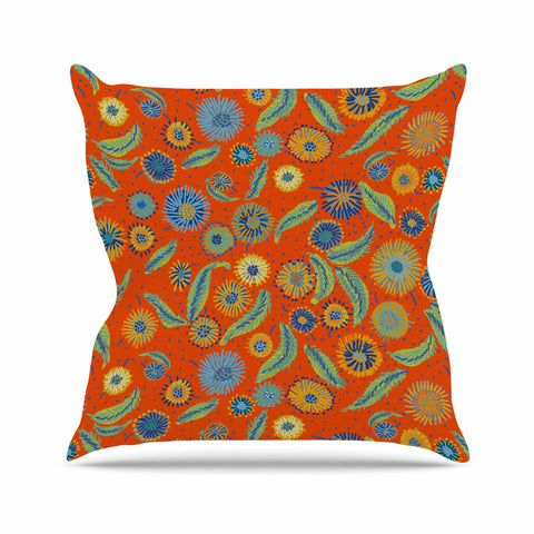 "Laura Nicholson ""Asters On Scarlet"" Orange Floral Outdoor Throw Pillow - KESS InHouse  - 1"