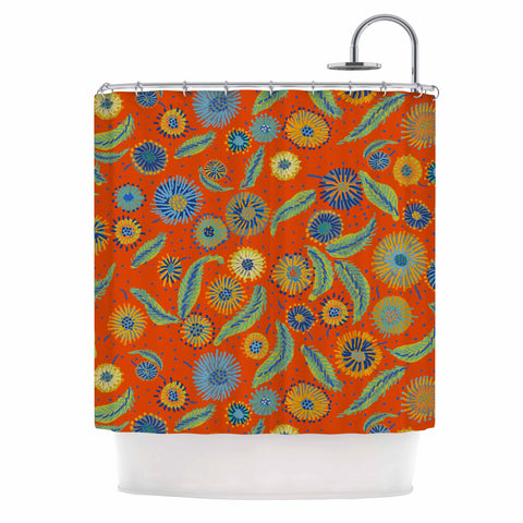 "Laura Nicholson ""Asters On Scarlet"" Orange Floral Shower Curtain - KESS InHouse"