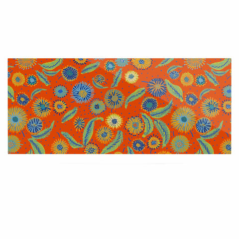 "Laura Nicholson ""Asters On Scarlet"" Orange Floral Luxe Rectangle Panel - KESS InHouse  - 1"