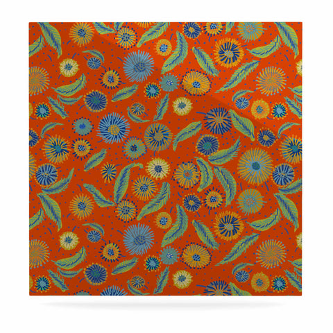 "Laura Nicholson ""Asters On Scarlet"" Orange Floral Luxe Square Panel - KESS InHouse  - 1"
