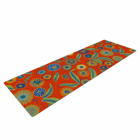 "Laura Nicholson ""Asters On Scarlet"" Orange Floral Yoga Mat - KESS InHouse  - 1"