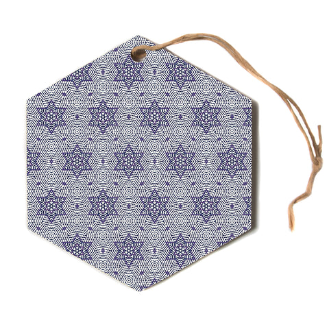 "Laura Nicholson ""Star Power"" Blue Geometric Hexagon Holiday Ornament"