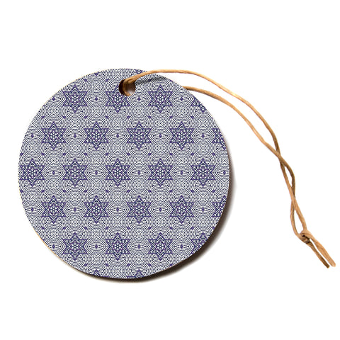 "Laura Nicholson ""Star Power"" Blue Geometric Circle Holiday Ornament"