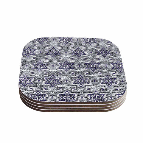 "Laura Nicholson ""Star Power"" Blue Geometric Coasters (Set of 4)"