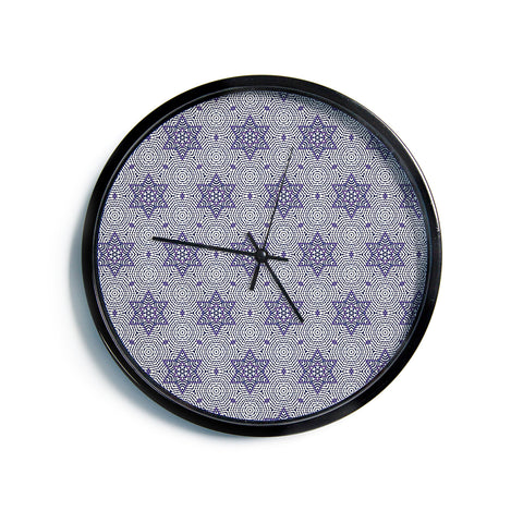 "Laura Nicholson ""Star Power"" Blue Geometric Modern Wall Clock"