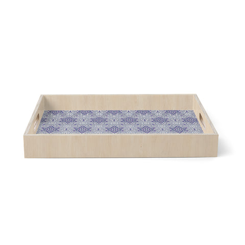 "Laura foster Nicholson ""Star Power"" Blue Geometric Birchwood Tray"