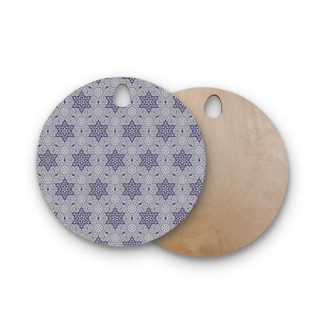 "Laura Nicholson ""Star Power"" Blue Geometric Round Wooden Cutting Board"