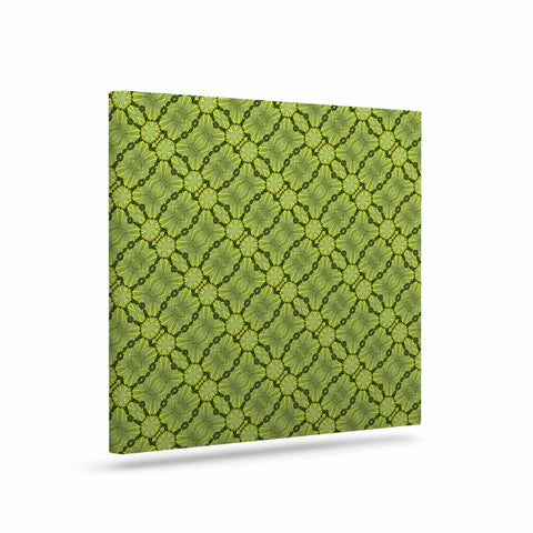 "Laura Nicholson ""Leafy Lozenges"" Green Abstract Canvas Art - KESS InHouse  - 1"