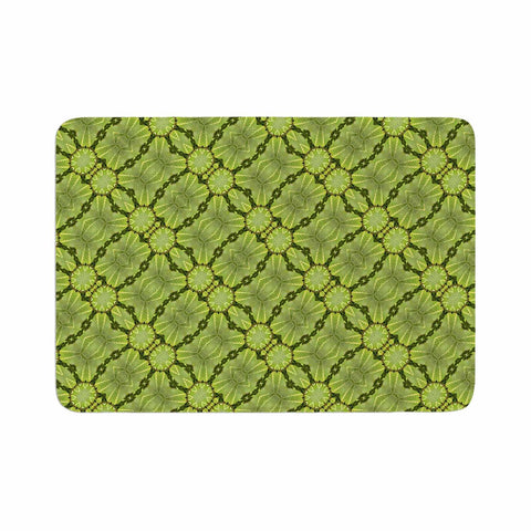 "Laura Nicholson ""Leafy Lozenges"" Green Abstract Memory Foam Bath Mat - KESS InHouse"