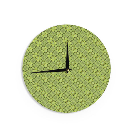 "Laura Nicholson ""Leafy Lozenges"" Green Abstract Wall Clock - KESS InHouse"
