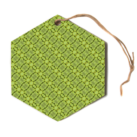 "Laura Nicholson ""Leafy Lozenges"" Green Abstract Hexagon Holiday Ornament"