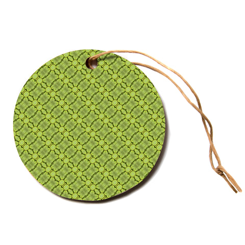 "Laura Nicholson ""Leafy Lozenges"" Green Abstract Circle Holiday Ornament"