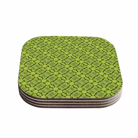 "Laura Nicholson ""Leafy Lozenges"" Green Abstract Coasters (Set of 4)"