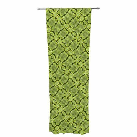 "Laura Nicholson ""Leafy Lozenges"" Green Abstract Decorative Sheer Curtain - KESS InHouse  - 1"