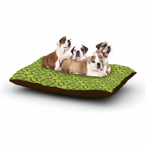 "Laura Nicholson ""Leafy Lozenges"" Green Abstract Dog Bed - KESS InHouse  - 1"
