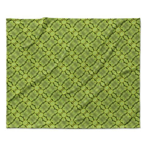 "Laura Nicholson ""Leafy Lozenges"" Green Abstract Fleece Throw Blanket"