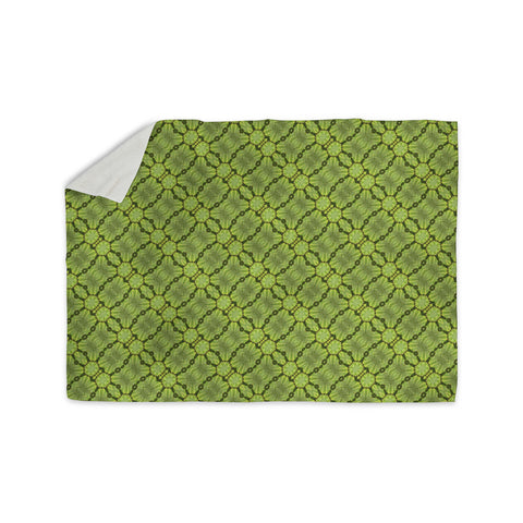 "Laura Nicholson ""Leafy Lozenges"" Green Abstract Sherpa Blanket - KESS InHouse  - 1"