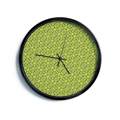 "Laura Nicholson ""Leafy Lozenges"" Green Abstract Modern Wall Clock"