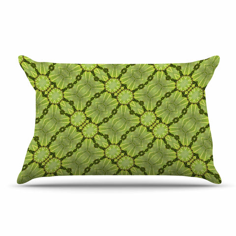 "Laura Nicholson ""Leafy Lozenges"" Green Abstract Pillow Sham - KESS InHouse  - 1"