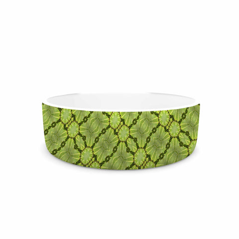 "Laura Nicholson ""Leafy Lozenges"" Green Abstract Pet Bowl - KESS InHouse"