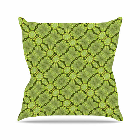 "Laura Nicholson ""Leafy Lozenges"" Green Abstract Outdoor Throw Pillow - KESS InHouse  - 1"