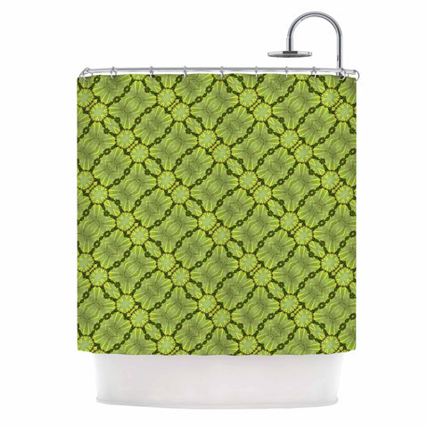 "Laura Nicholson ""Leafy Lozenges"" Green Abstract Shower Curtain - KESS InHouse"