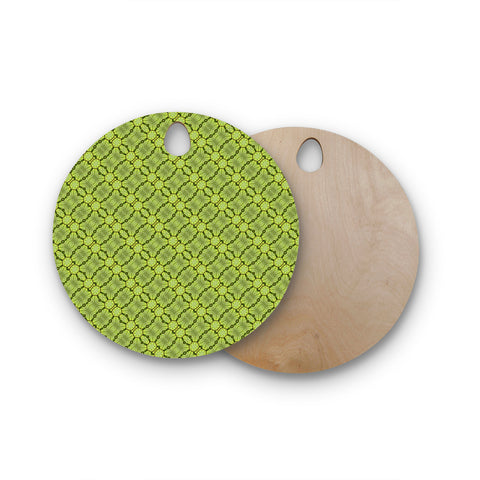 "Laura Nicholson ""Leafy Lozenges"" Green Abstract Round Wooden Cutting Board"