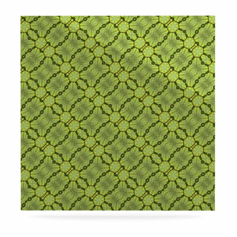 "Laura Nicholson ""Leafy Lozenges"" Green Abstract Luxe Square Panel - KESS InHouse  - 1"
