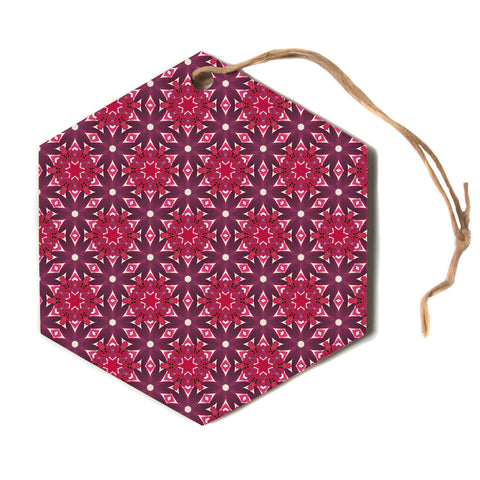 "Laura Nicholson ""Blooming Echinacea"" Magenta Floral Hexagon Holiday Ornament"