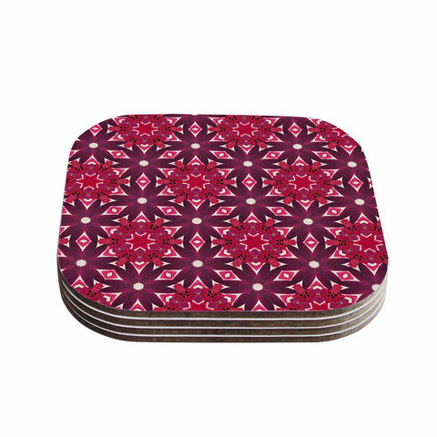 "Laura Nicholson ""Blooming Echinacea "" Magenta Floral Coasters (Set of 4)"